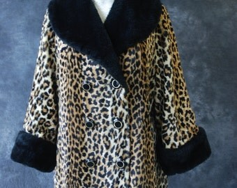 70's double breasted faux fur leopard print jacket