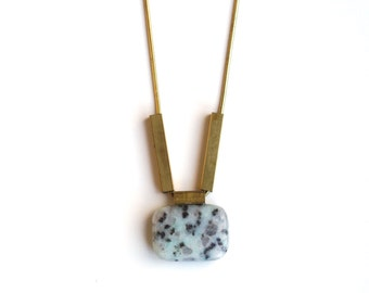 Mint Green Jasper Bead and Brass Tube Necklace