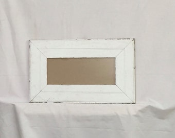 Salvaged Recycled 5x12 Wood Molding Photo Picture Frame White Shabby Cottage Chic 404-16