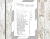 Grey Sugar Stripes Celebrity Baby Shower Game Instant Download - Match the celebrity baby game