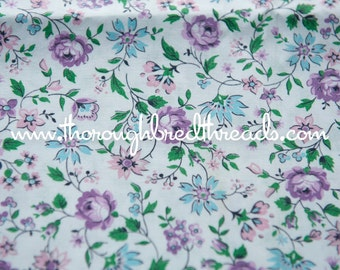 Pretty Purple Floral- Vintage Fabric New Old Stock 50s 60s Cottage Charm 36 in wide