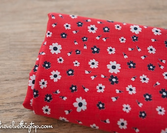 Mod Floral Daisies- Vintage Fabric Juvenile Whimsical New Old Stock 70s Red Navy