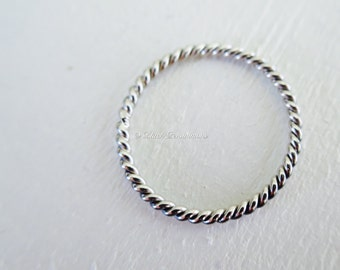 Sterling Silver Twisted Wire Stacking Ring - Solid 925 - Insurance Included