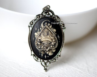 Ouija Planchette Gothic Necklace - Yes Cameo 40x30mm - 2 Setting Colors - Insurance Included