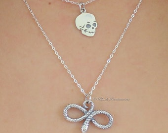 SNAKE Necklace - Year of the Snake Solid 925 Sterling Silver Charm Pendant - Insurance Included