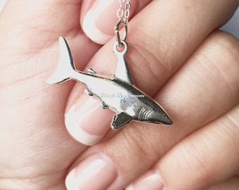 Shark 3D Necklace - Solid 925 Sterling Silver Charm Pendant - Free Domestic Shipping
