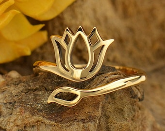 Lotus Adjustable Ring - Natural Bronze Renge Feng Shui Lian Hua - Insurance Included