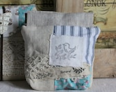 Bag pouch coin purse antique hemp with bird stamp