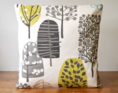 charcoal taupe grey, beige, light blue,chartreuse trees cushion cover, woodland decorative pillow cover 16 inch / 40 cm