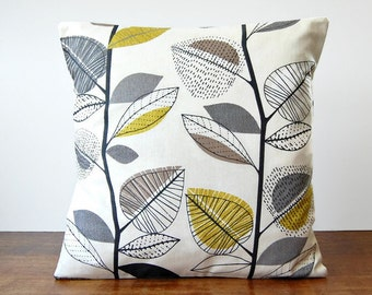 decorative pillow cover grey, light mustard, beige leaves, charcoal grey cushion cover 18 inch