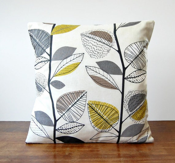 decorative pillow cover grey light mustard by LittleJoobieBoo