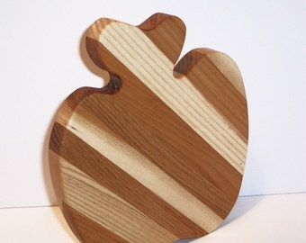 Apple Cheese Cutting Board Handcrafted from Mixed Hardwoods