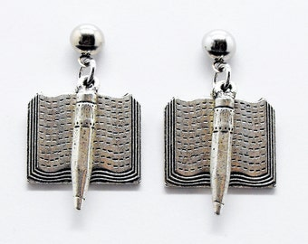 Writers Book and Pencil Earrings Literary Author Themed Jewelry
