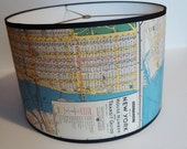 New York map drum lamp shade
