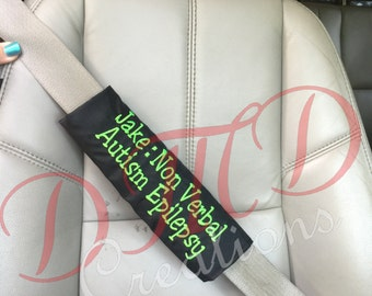 Special Needs Seatbelt cover, Autism awareness seatbelt cover, Non verbal seat belt awareness, seat beat cover