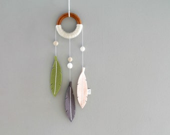 Modern Boho Dream Catcher. Felt Feather Dreamer. Fern and Gray Nursery Decor Dreamcatcher Wall Hanging. Handmade by Ordinary Mommy Design
