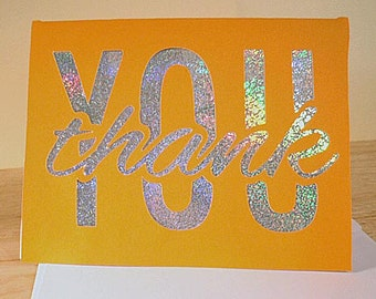 OOAK Orange and Prism Thank You Card.