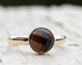 Smokey Quartz - rose cut ring