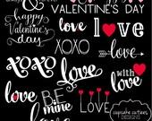 Valentine Love - Happy Valentine's Day-  Digital Photographer Word Art Overlays- Instant DOWNLOAD