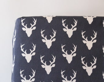 Woodland Crib Sheet in Navy Blue Deer Buck - Buck Forest Twilight Ready to Ship