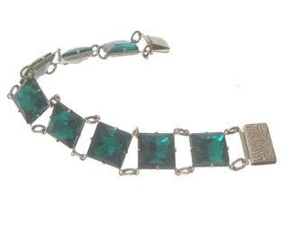 Emerald Art Deco Bracelet, 1920 Square Etched Link, Antique Original Art Deco Jewelry, Wedding Jewelry