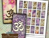 Zen Yoga Digital Collage Sheet 1x2 Domino Images Namaste Printable for Game Tiles, Bezel Settings, Resin Pendants, Jewelry Supply