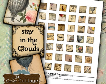 Hot Air Balloons Digital Collage Sheet .85x.85 Square Images for Pendants Decoupage Paper Vintage Air Balloons Calico Collage Steampunk