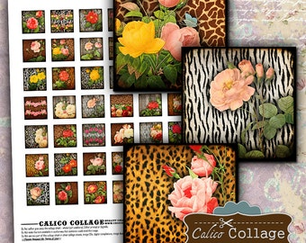 Animal Print Roses Digital Collage Sheet 1x1 Inch Inchies Printable for Pentants, Decoupage, Magnets, Paper Crafts, Bezel Settings