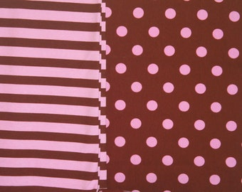 Brown with pink dots and matching stripes knit fabric duo