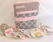 One wet dry wetbag and/or 10 hemp fleece,cotton,cloth, makeup remover pads,3 inch and 2 inch,make up pads/pink and grey