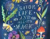 Night Magic Art Print  | Watercolor Quote | Inspirational Print | Lettering | Garden Wall Art | Katie Daisy | 8x10 | 11x14