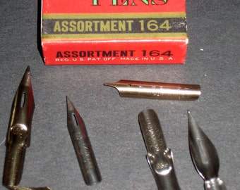 5 Vintage R. Esterbrook Assorted Pen Nibs w/ Box for Crafts, Altered Art, Assemblage, Jewelry Making, etc.