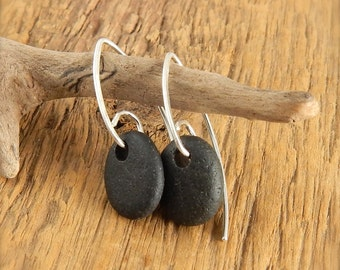 Beach stone earrings, black stone earrings, 1 inch long, handmade sterling silver earwires with long tails, ready to ship.