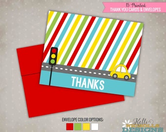 Car Birthday Party Thank You Cards, Transportation Thank You Notes