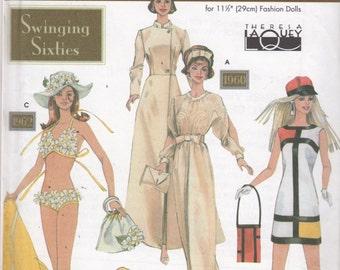 Simplicity 9913 Swinging Sixties Fashion Mod Doll Clothes Pattern 11 1/2 Barbie Bikini Hat Evening Gown Mondrian Dress Sewing Pattern UNCUT