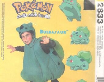 McCalls 2833 P204 Childs POKEMON Costume Pattern BULBASAUR Nintendo Boys Girls Sewing Pattern Size 4 5-6 7-8 Breast Chest 23- 28 UNCUT