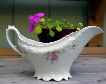 Antique Porcelain Floral Gravy Boat
