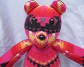 Navajo blanket pink bear, stuffed animal, plush, native indian, teddy bear, stuffed bear, smiley bear, bear plush, plush bear, pink bear