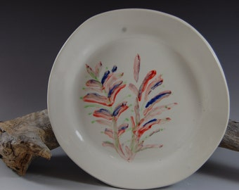 Handmade Pottery Plate, Dish, Serving, White, Textured Back, Hand Painted
