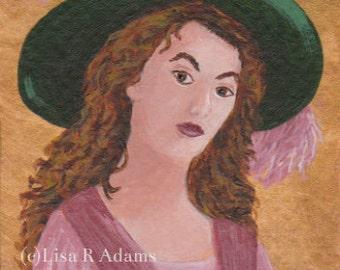 Victorian Lady Portrait Painting Aceo Miniature Art Original Creationarts