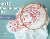 Embroidery Kit 2017 calendar, embroidery kit, includes floss and instructions TWILIGHT, DIY Fabric Calendar embroidery kit