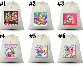 12 Shopkins Birthday Party Favor Goody Loot Gift Candy drawstring Bags