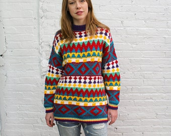 80s colorful tribal print chunky sweater / mock neck oversize sweater