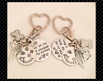 Hand Stamped Pet Memorial Key Chain, KeyRing, 5 Piece Custom Hand Stamped Pet Tag, Dog, Cat, Angel Wings, In HONOR of (You Build Yours)