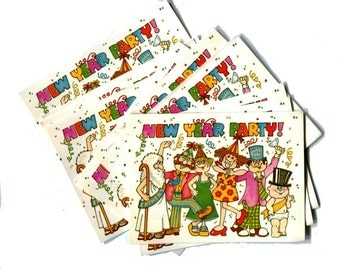40 New Years Party Invitation Cards 1970s Vintage Colorful Party Celebration Ring in the New Paper Stationary Foldover Cards and Envelopes