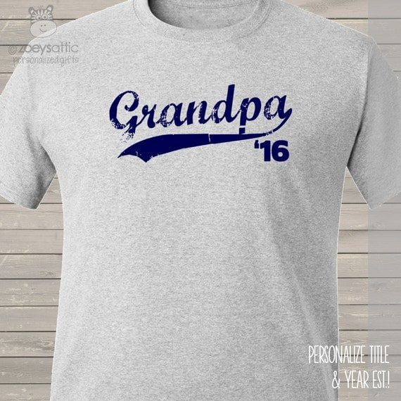 Grandpa shirt - swoosh with any year great for Father's Day and surprise pregnancy announcement t-shirt