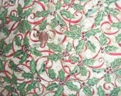 Christmas Cotton Fabric Ribbon Holly n Berries Outlined in Gold New
