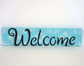 Aqua welcome sign, Welcome sign, wooden welcome sign, entry sign, Welcome, hand painted wooden sign, cottage chic, wall decor, housewarming