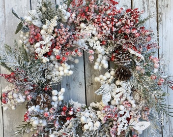 Christmas Wreaths, White and Red Christmas Wreath, Holiday Berry Wreath for Door, Snowy Wreath with Berries