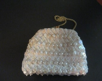White Beaded Clutch Vintage